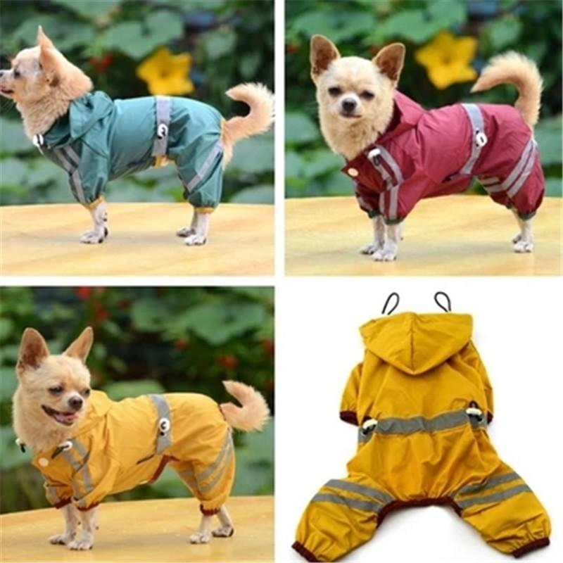 New Puppy Dog raincoat waterproof jacket reflective safety dog clothes pet raincoat Cat Glisten Bar Hoody dog coats small dogs