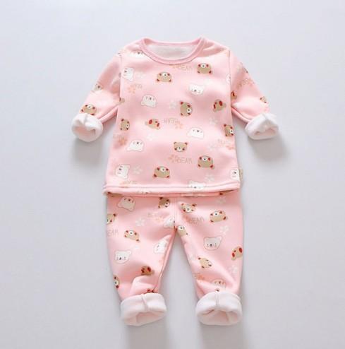 Pijamas para niñas Set Winter Baby Warm Velvet Thickening mangas largas Tops + Pants Suit 2 unids Niños Niños Ropa Set Boy pijamas