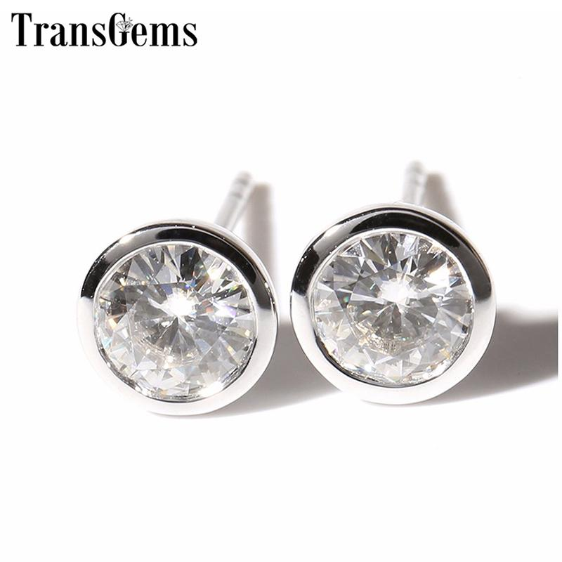 Transgems Classic 14k 585 White Gold Moissanite Earrings For Women 5mm F Color Moissanite Bezel Set Stud Earrings Push Back Y19032201