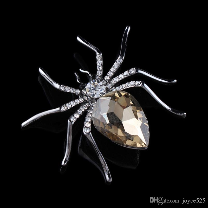 High Quality Glass Crystal Spider Brooch Pins in Red Purple Blue Colors fashion high-grade diamond scarf brooch