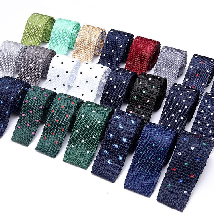 Fashion Skinny Mens Knit Ties Formal Business Suit Dress Slim Necktie Casual Coat Tie Dot Blue Necktie Gift Men Wedding PartyTie
