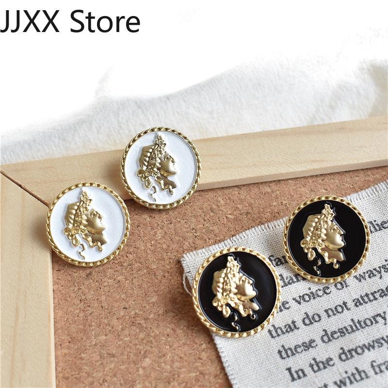 New face earrings for women trendy earring metal black vintage portrait button alloy earrings geometric ear jewelry accessories