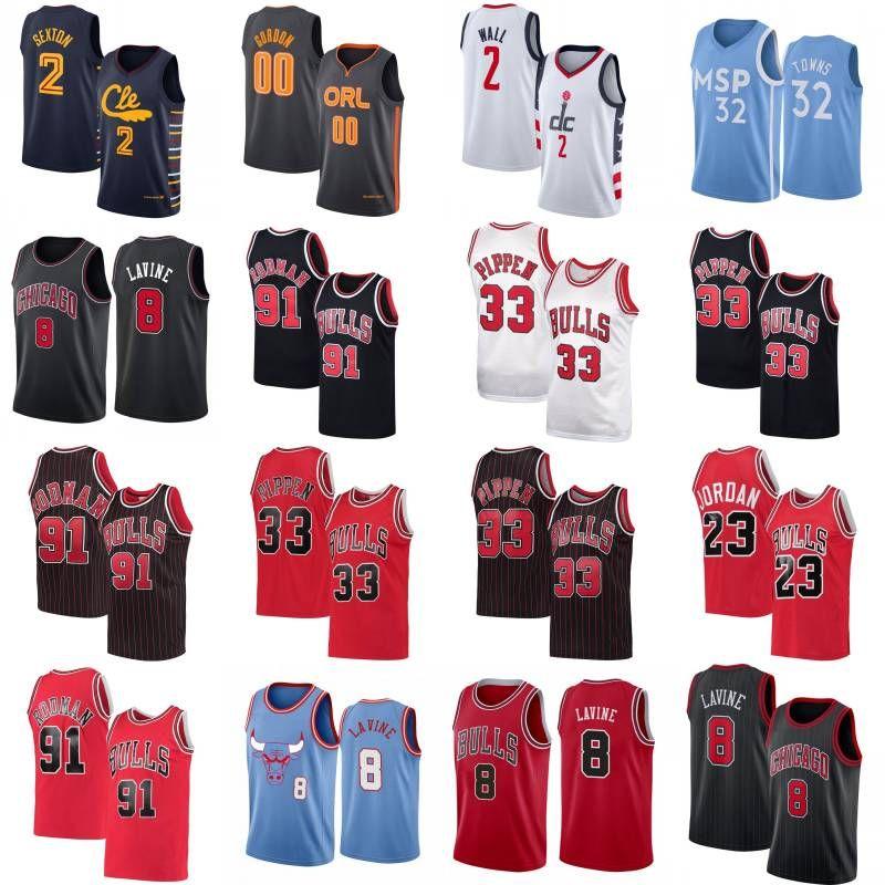 Collin 2 Sexton Basketball Jersey Mens City John 2 Wall Karl-Anthony 32 Städte Zach 8 Lavine Scottie 33 Pippen Shirt