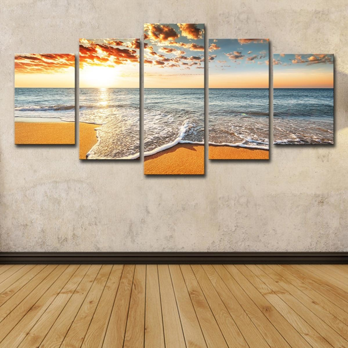 5Pcs Colorful Sunshine Beach Sea Waves Seascape Oil Painting Poster Wall Art HD Print Canvas Painting Fashion Hanging Pictures