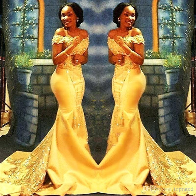 2019 Giallo Mermaid elegante abiti da sera formale Pizzo Applique Prom Dress Paillettes Abiti da sera in cristallo robes de soirée