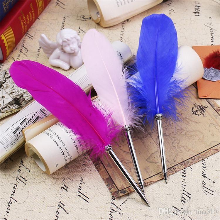 قلم حبر ريش الموضة ريشة حبر بن 14colors Pallpoint Bens For Wedding Gift Office School Writing Supplie T1I335