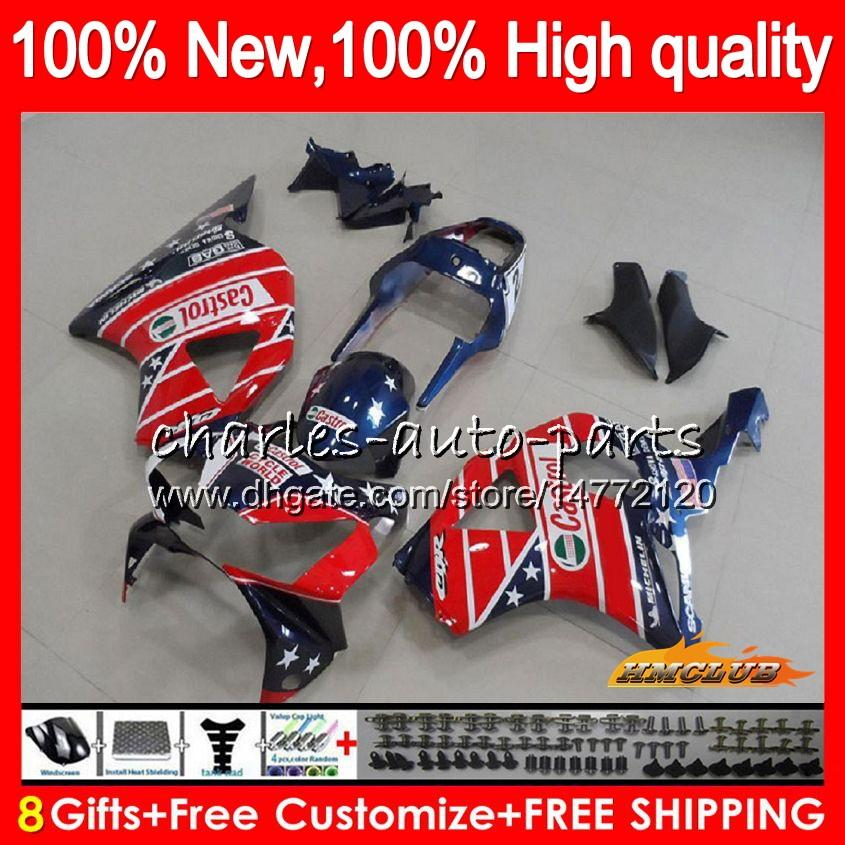 Body For HONDA CBR900RR Castrol red CBR 954 900 RR CC CBR900 CBR954 RR 02 03 77HC.37 900CC CBR 900RR 954RR CBR954RR 2002 2003 Fairing Kit