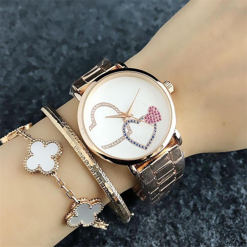 watch111 für Frauen Mädchen Buntes Kristall Pfirsich Herzen Muster Metall Zifferblatt Stahlband Quarzuhr Mode-Design der Frauen Quarz-Armbanduhr