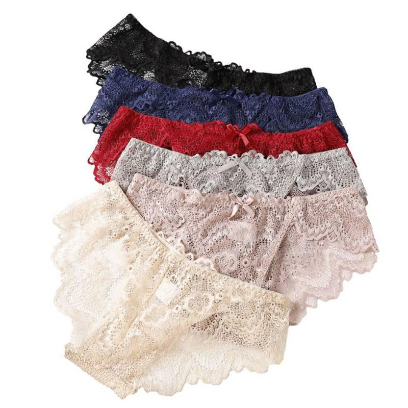 Sexy Lingerie Women Underwear Lace Panties Bow Solid Color Fancy Breathable Mid Waist Women Briefs