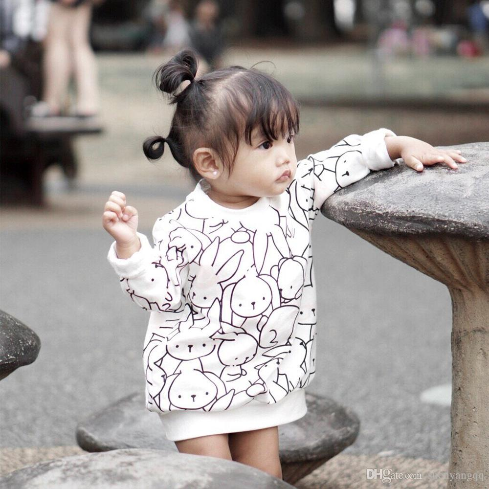 2019 Girls Boys Sweatshirts Rabbits Print Kids Cotton Long Sleeve Hoodies Summer Toddler Cartoon High Quality Outfits
