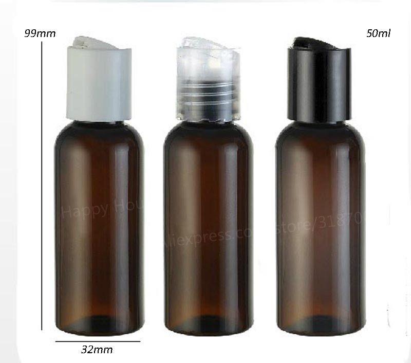 30 x 50 ml garrafa âmbar Brown Pet Com Cap Disk 50cc Creme cosmético Packaging