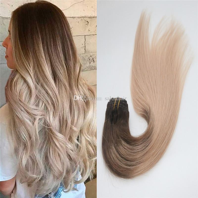 Клип в Реми человеческих волос Ombre коричневый пепел блондинка основные #4/18 бесшовные клип на наращивание волос 7шт 120 грамм Для полной головы