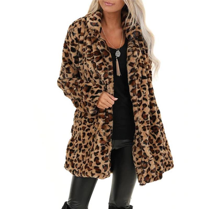 Leopard Plush Jacket de Jaycosin Mulheres New Cardigan Mulheres Moda leopardo Tops Outwear Cardigan manga comprida Coats Vintage