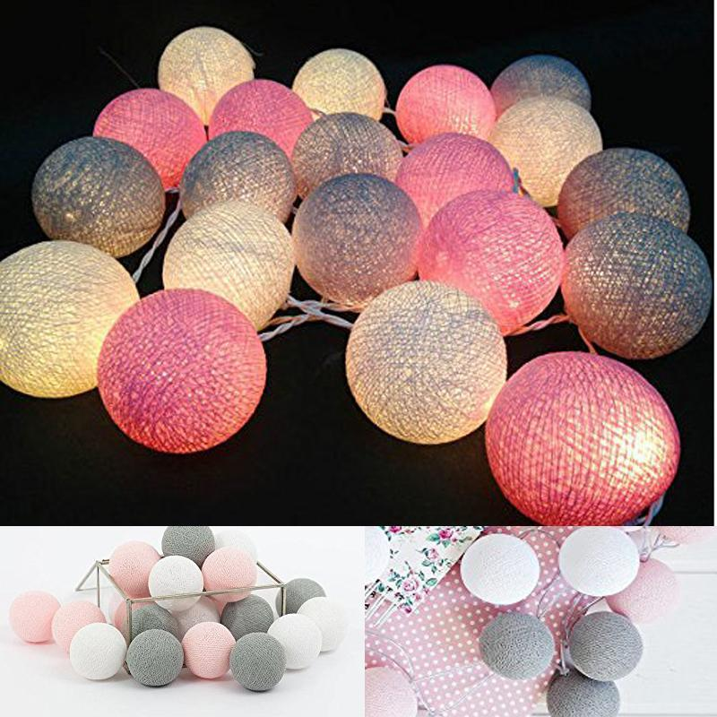 White Gray Pink 4m Battery Powered Led Cotton Ball String Light Fairy Light For Indoor Bedroom Christmas Tree Decorations Ac110v