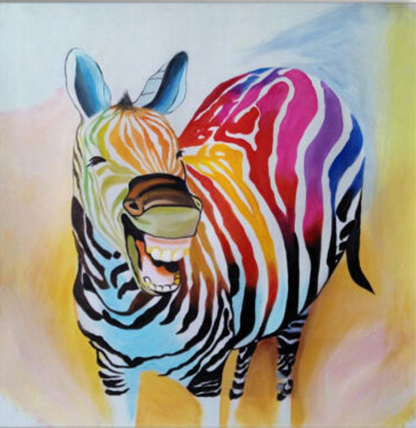 Modern Abstract Cartoon Animal Laughing Horse Home Decor Handcrafts /HD Print Oil Painting On Canvas Wall Art Canvas Pictures A222