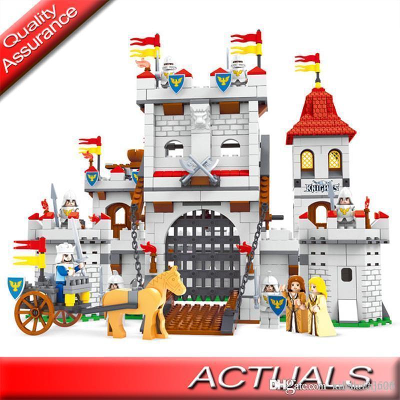 1118pcs Compatible DIY Knight Castle Carriage Medieval Ausini 27110 Building Blocks Soldier Figures Set Bricks Toys Children