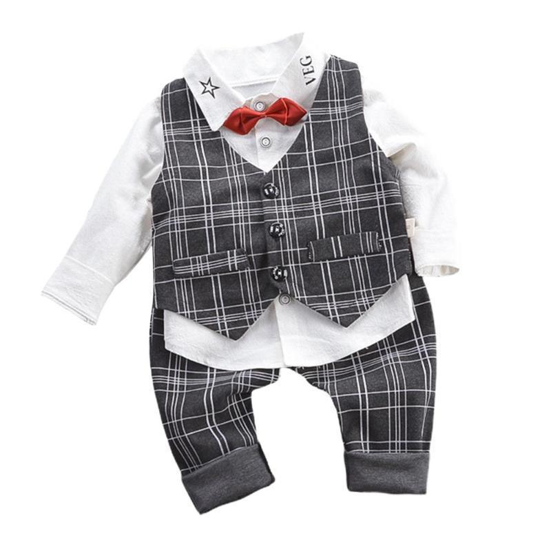 Kinder Junge Gentleman-Weste-Hemd-lange Hosen dreiteiliges Set Baby-Formal Kinder-Kind-Kleidung-Jungs-T-Shirt Set