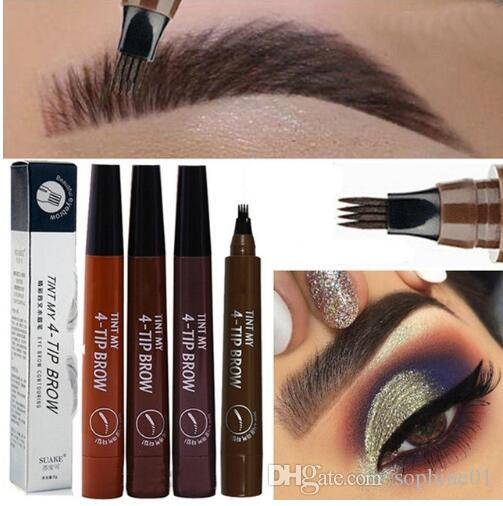 Nueva pluma de la ceja Microblading Tenedor impermeable punta de lápiz de cejas Tatuaje de larga duración Bellas Profesional Boceto líquido Cejas Lápiz