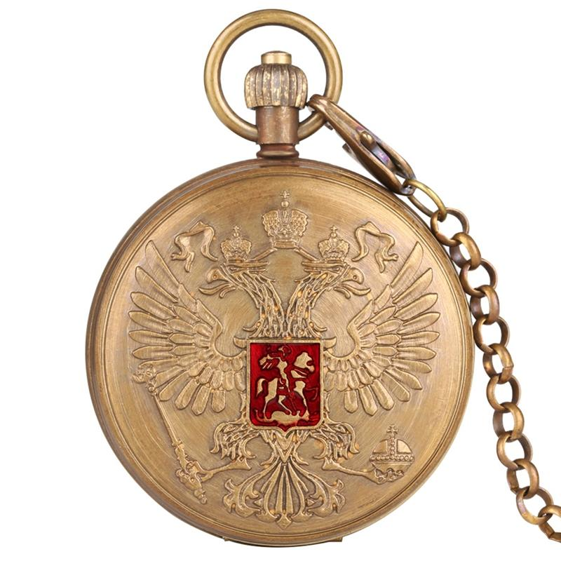 Double-headed Eagle Coat Of Arms Russian National Emblem Badge Pure Copper Tourbillon Automatic Mechanical Pocket Watch Chain