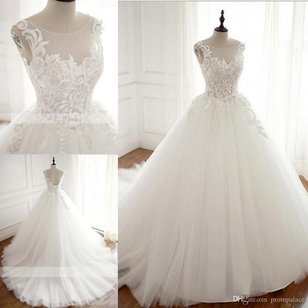 Real Lace Wedding Dresses Ball Gown Boat Neck Sexy Back With Lace Up Custom Made Elegant Bridal Gown