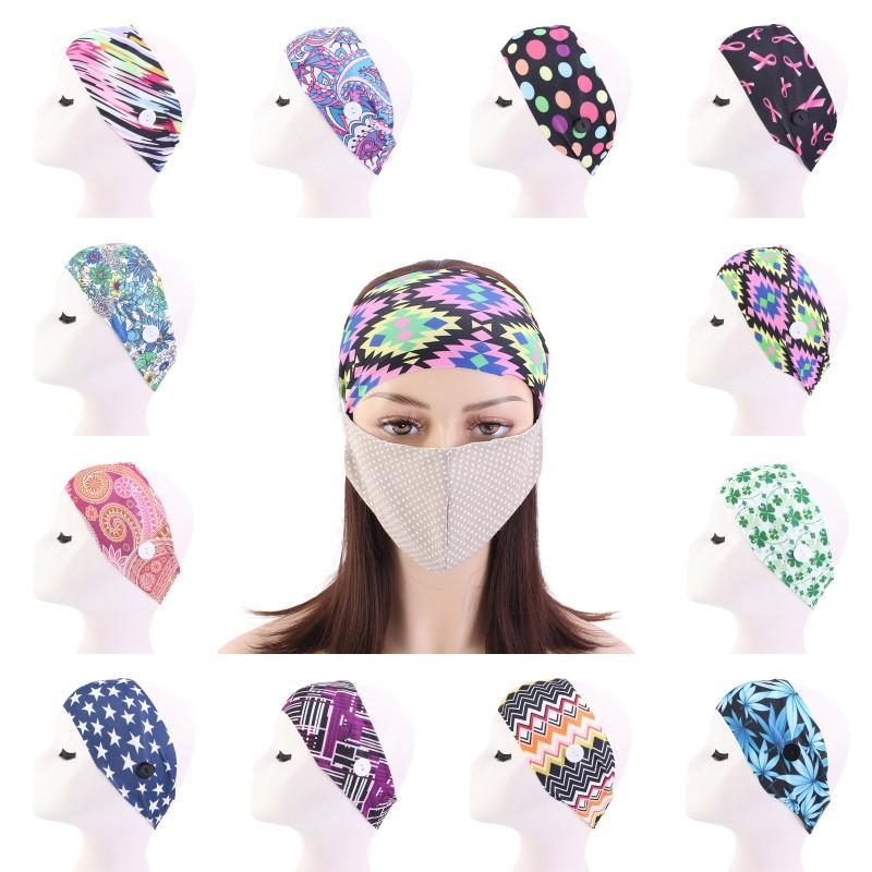 Máscara Moda Botão Headbands Mulheres Yoga Elastic Hairband Turban Exercício cópia da flor Headwear Meninas Cabelo Acessórios presente