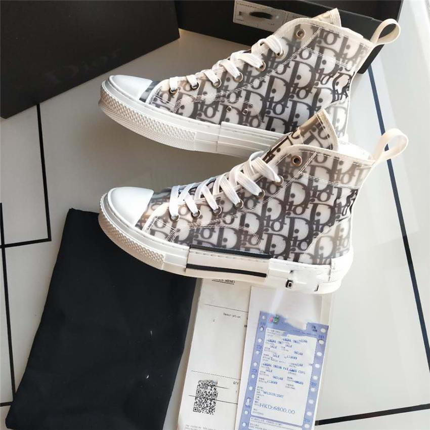 Dior b23 shoes 2020 New Gao Bang Blumen Technische Segeltuchschuhe High Top Oblique-Freizeitschuhe 3M Mens-Frauen-Luxus-Designer-Schuhe 36-4488