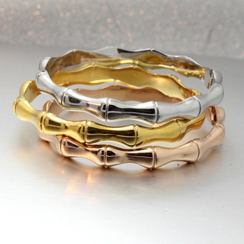 العلامة التجارية التيتانيوم الصلب اللقمة أساور الخيزران الشكل مصمم الإبزيم سوار الذهب ارتفع للمرأة أساور زوجين بيان مجوهرات DHL