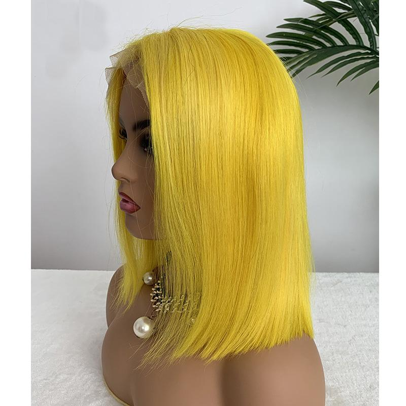인도 버진 다채로운 헤어 13X4 레이스 프런트가 밥 가발 빨간색 노란색 실키 스트레이트 10-16inch 100 % 인간의 머리 도매 밥 가발