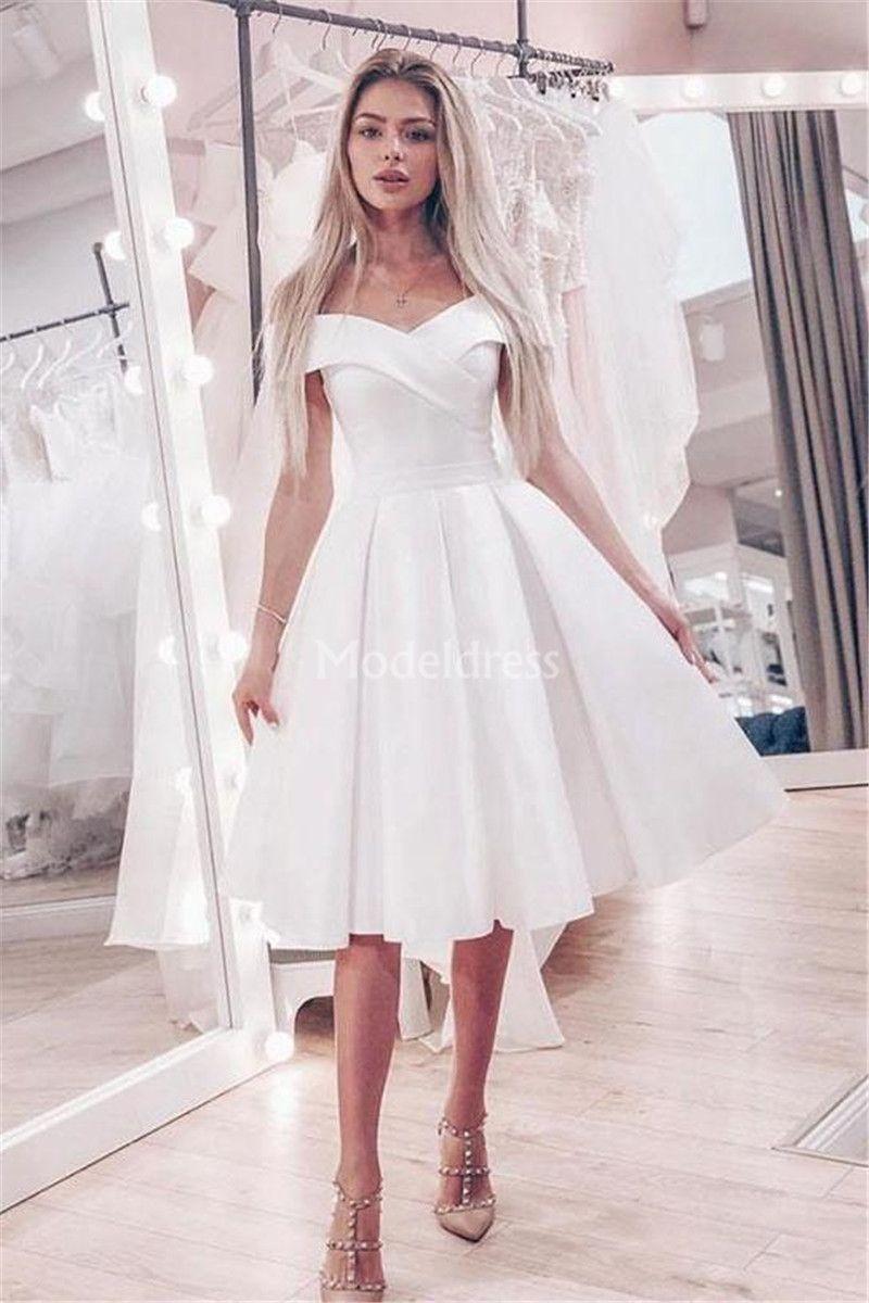 20 Modern Short Wedding Dresses Off Shoulder Knee Length A Line ...