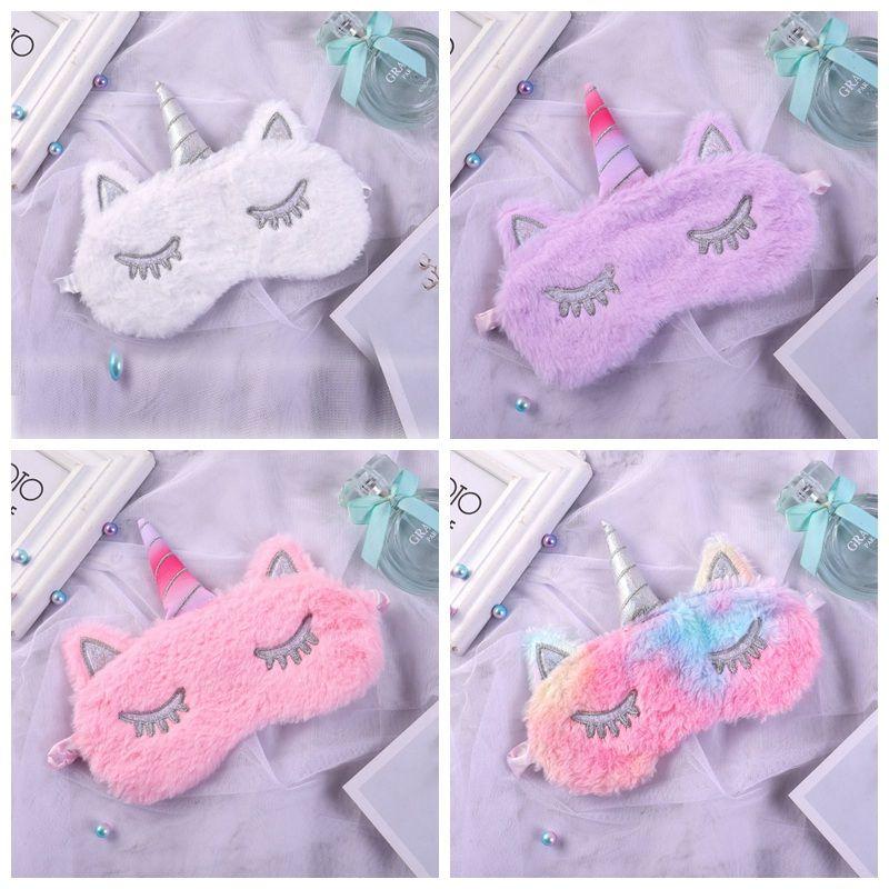 Máscara de sueño de unicornio Máscara de ojos de felpa de dibujos animados Sombreado Descanso de viaje suave Máscaras de sueño para hombres Mujeres HHA472