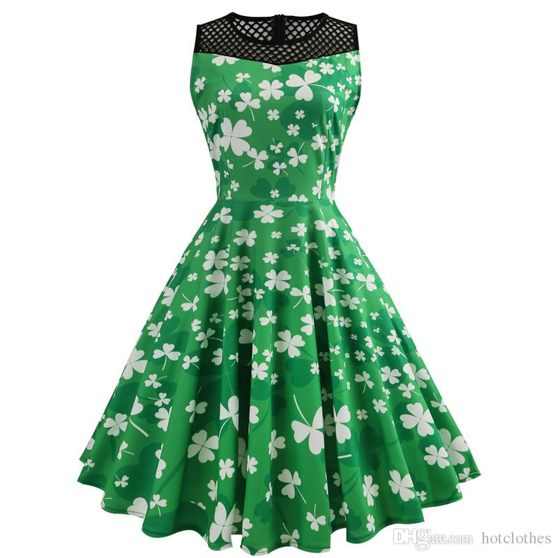 St. Patrick's Day Dress for Women Sleeveless Hollow Out Four-leaf Clover Dress Pullover O-neck Green Vintage Summer Dress Women Clothes