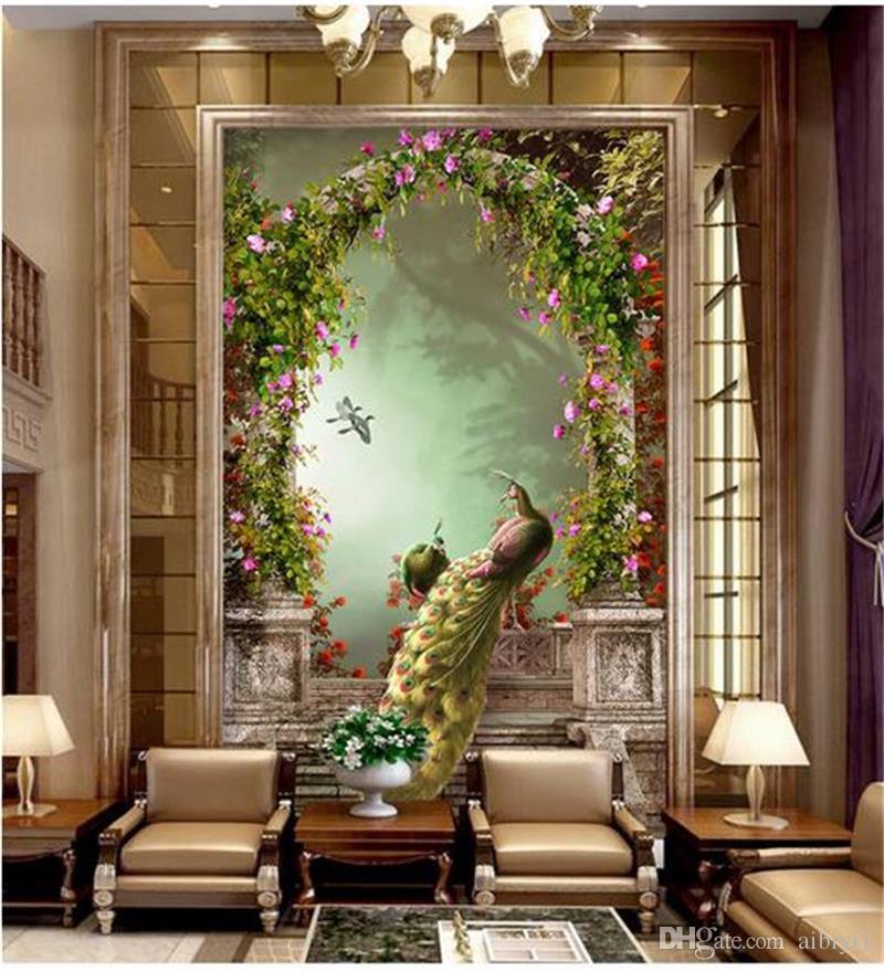 Tamanho personalizado 3d foto papel de parede sala de estar mural Europeu pavão retro romana arco quarto varanda parede papel de parede não-tecido adesivo de parede