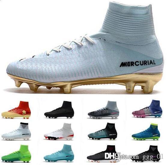 Top CR7 Mercurial Superfly V FG Mens Soccer Shoes Ronaldo Cristiano Football Boots Mercurial Superfly Men Football Shoes ACC Soccer Cleats