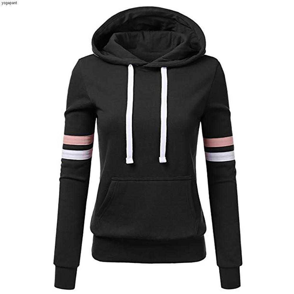 Women's Stripe Sweatshirts Hooded Pocket Long Sleeve Pullovers Training Running Gym Sports Tops Autumn Winter Shirts##4