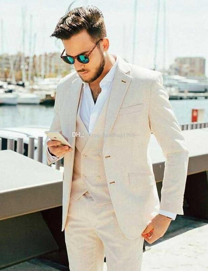 Linen for summer Beige Groom Tuxedos Notch Lapel Men Party Prom Business Suits Dinner Blazer Coat Sets (Jacket+Pants+Vest+Tie) K213