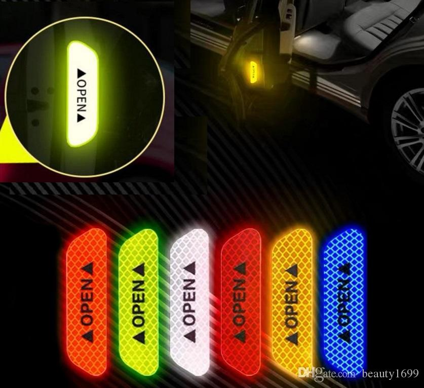 4pcs Yellow Car Accessories Door Opening Safety Warning Stickers o Reflective