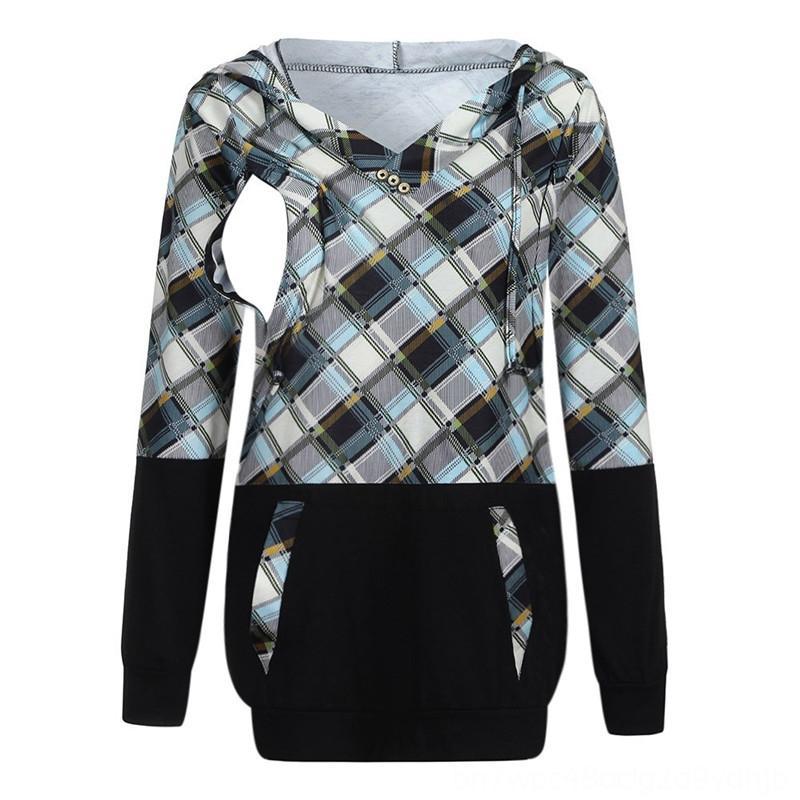 Soins infirmiers LONSANT Hoodie Vêtements pour femmes Fournitures de maternité à manches longues à carreaux allaitement Chemise d'hiver pour la maternité Grossesse Vêtements Sueurs