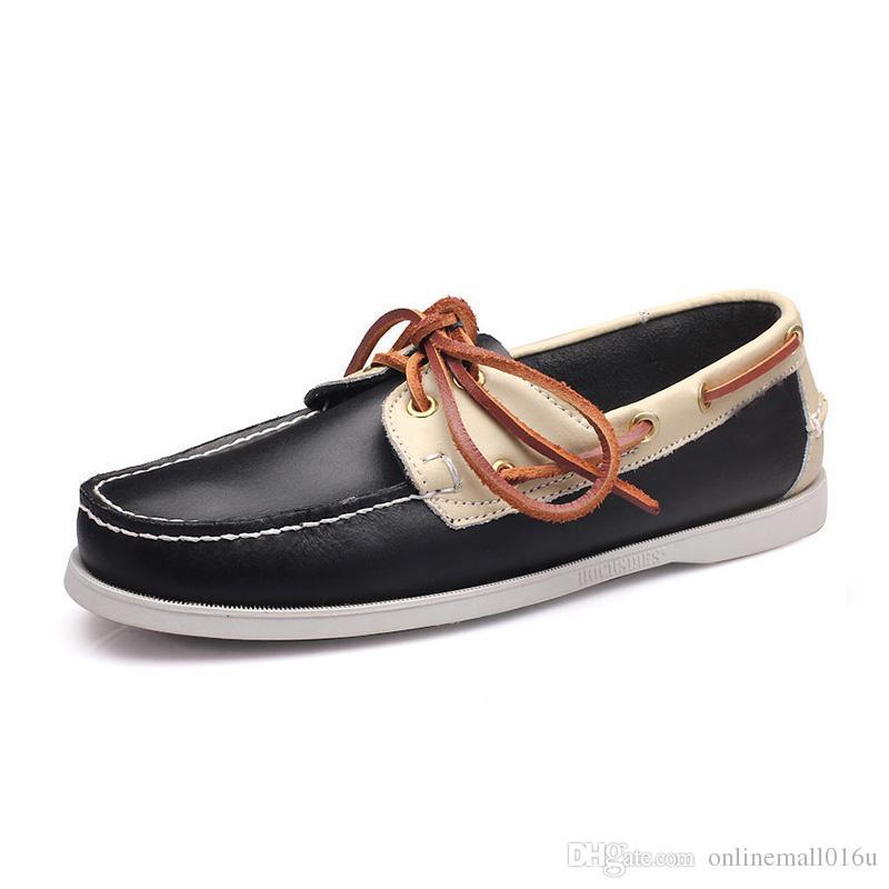 جديد الرجال جلد طبيعي عارضة أحذية الرجال الربيع / الخريف جلد البقر المتسكعون الاخفاف أحذية رجالي المطاط