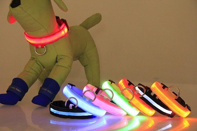 USB ricaricabile collare di nylon animali del cane ha condotto il collare del gatto del cane con cavo USB guinzaglio del cane accessori per cani luminoso fluorescente collari per animali domestici