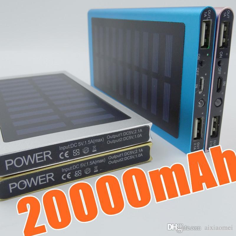 스마트 폰 L-YD에 대한 예약 유형 20000mAh 휴대용 태양 광 발전 은행 초박형되는 PowerBank 백업 전원 공급 장치 배터리 전원 충전기