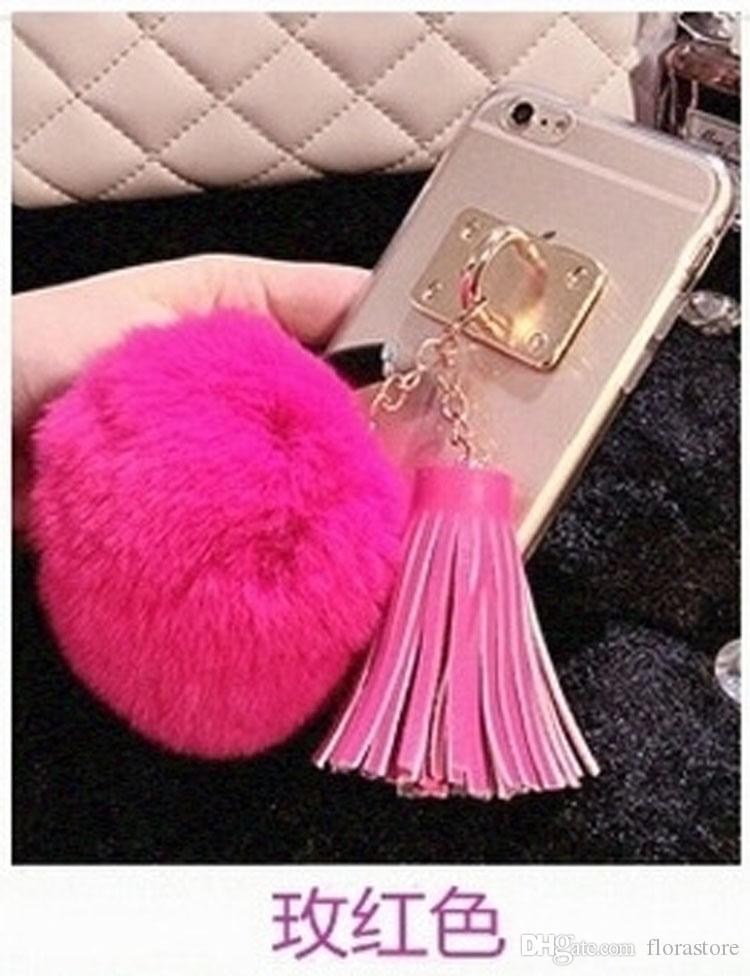 Newest Clear Acrylics Luxury Metal Cute Soft Fur Fluffy Hair Downy Plush Ball Fashion Tassels Phone Case for iPhone X 11 PRO