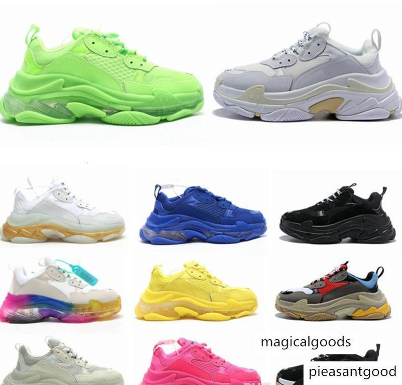 2020 Fashion Crystal Bottom Paris 17FW Triple S Mens Sneakers Vintage Dad Platform Women Casual Shoes Trainers