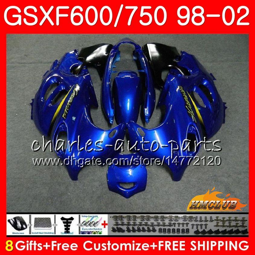 Bourse bleue pour Suzuki Katana GSXF 750 600 GSXF600 98 99 00 01 02 2HC.23 GSX750F GSX600F GSXF750 1998 1999 2000 2001 Kit de carénage 2002