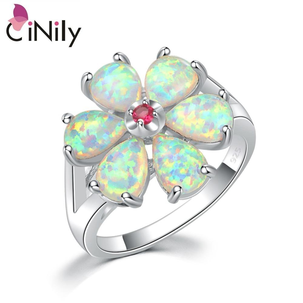 Cinily White Fire Opal Rings With Stone Silver Plated Gardenia Flower Flora Plant Ring Natrual Summer Jewelry Gifts Girls Women J190625