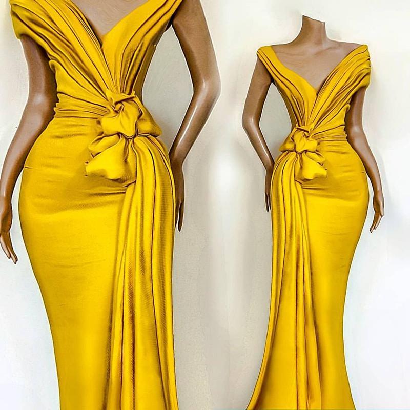 Stunning giallo vestiti da sera delle pieghe Knoted Mermaid al largo della spalla partito convenzionale della celebrità abiti per le donne Abbigliamento per occasioni a buon mercato