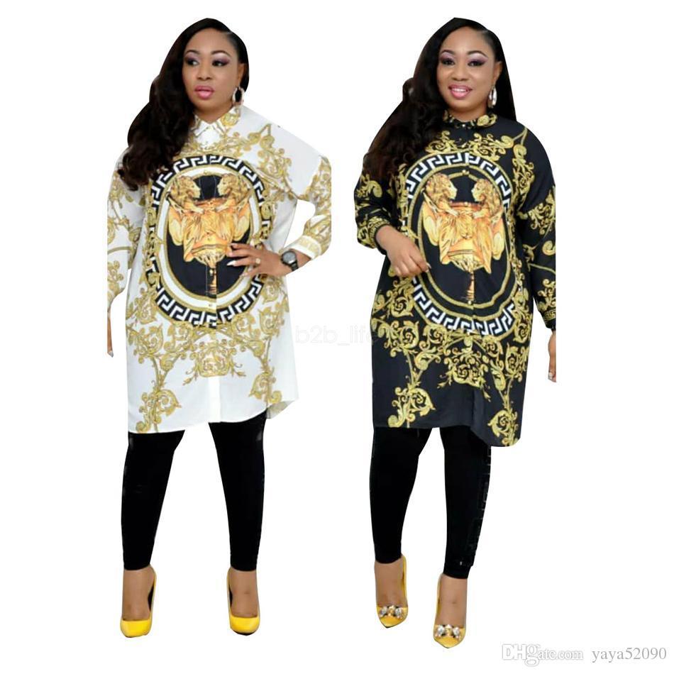 Gelinlik 2019 aslan Baskılı Uzun Kollu Elbise Gevşek Rahat Yaz Seksi Tasarımcı Kadınlar Altın gömlek Bluz Artı Boyutu Gelinlik