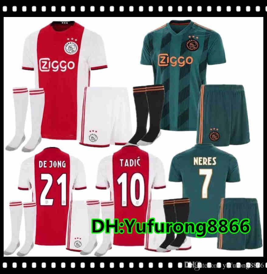 2019 2020 kit Aduit Ajax Accueil Soccer Jersey KLAASSEN DOLBERG MELIK Dijks EL GHAZI YOUNES Top qualité 19 20 Maillots maillots de football