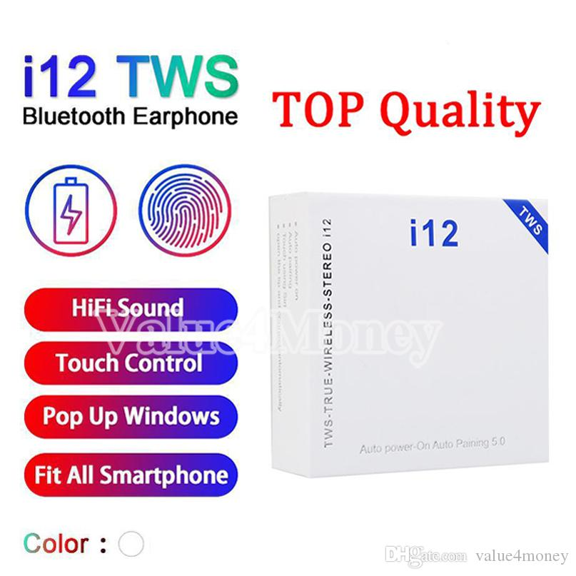 I12 TWS تلح سماعات الأذن اللاسلكية بلوتوث 5.0 Airbuds سماعات التحكم باللمس السيارات الاقتران السلطة حتى بكلتا الأذنين نداء Heaset سماعة PK I18 I16