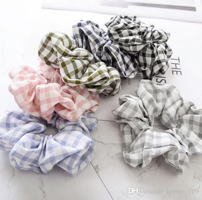 6 Color Women Girls Plaid Checker Cloth Elastic Ring Hair Ties Accessories Ponytail Holder Hairbands Rubber Band Scrunchies