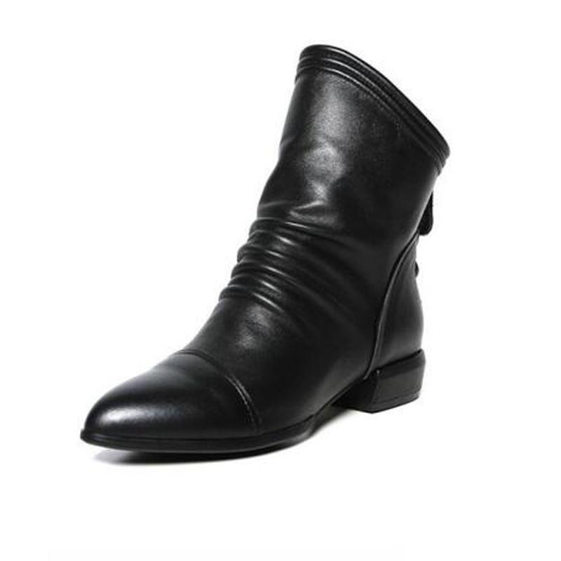 Black Pointed Toe Mid Calf Boots Women Nice Winter Pu Leather Short Boots Ladies Winter Warm Ladies Shoes